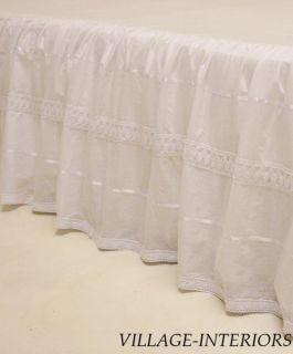 Shabby Romantic Chic White Twin Bed Skirt Dust Ruffle