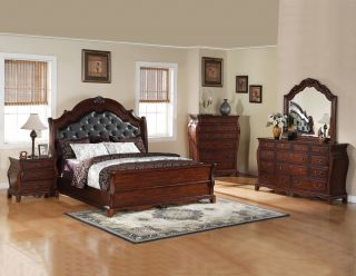 Prisilla Queen Bedroom Set Cherry Distressed Wood Leather Headboard 5