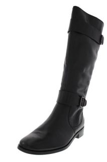 Ellen Tracy New Baxter Black Leather Embellished Knee High Boots Shoes