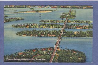FL Linen PC Aerial View Venetian Islands in Biscayne Bay 1951