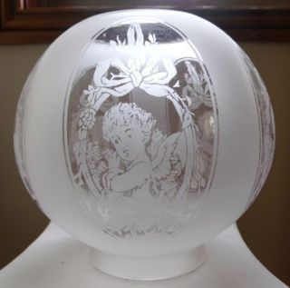 Panel Cherub Cameo Clear Etched Glass Gas Shade with 4 Lip Fitter