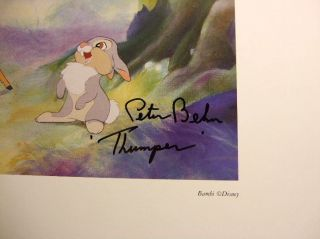 Original Disney Voice Thumper Hand Signed Bambi 1942 Peter Behn