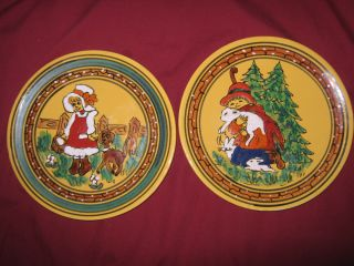 COLORFUL BELEN BARILOCHE HAND MADE PAINTED WALL HANGING PLATES BOY