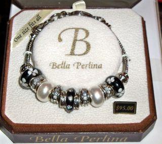 Bella Perlina European Crystal Glass Bead Charm Bracelet Blacks