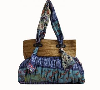 blue big nature straw Plaited purse shoulder bags Messenger beach bags