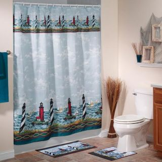 New 2pc Lighthouse Bath Mat Set Seaside Nautical Decor