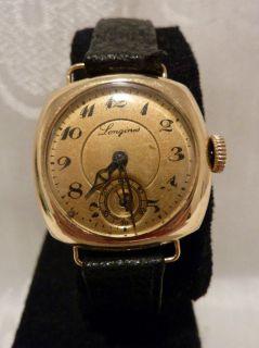 Art Deco 1920s 18K Yellow Gold Longines Wristwatch Working