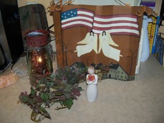 rustic country primitive TIN WALL ART PICTURE angels flags shaker