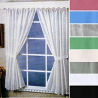 "Bathroom Shower Vinyl Window Curtain Tie Backs Hooks 36"" x 45"" New"