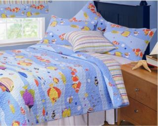 Tropical Fish Full Queen Quilt Set Ocean Beach Comforter