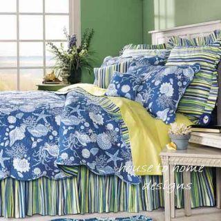 Blue Shell Hawaiian Tropical Beach Quilt Bed Set Twin