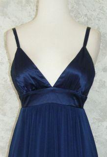 BCBG Paris Navy Blue Satin Empire Waist Top Jersey Skirt Dress 2
