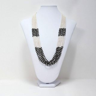 Fashion Jewelry Black And White Multi Strand Seed Beaded Necklace