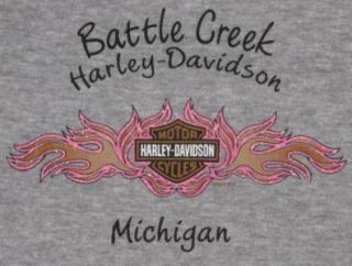 Womens Harley Davidson Battle Creek Michigan Tattoo Sleeve Double