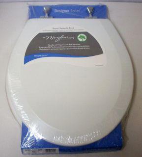 Bemis Mayfair 44CP White Round Wood Toilet Seat w Chrome Hinges