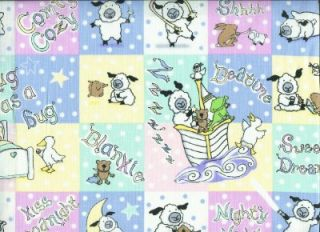 Newtons Lullaby Bedtime Sheep Block Print Cotton Fabric