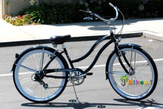 Speed Beach Cruiser Bicycle Micargi Pantera Womens Black Bike