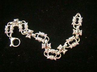 Stunning Signed BJC Samuel Benham Sterling Silver Ruby Garnet Bracelet