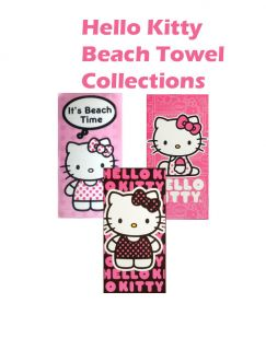 Hello Kitty Beach Bath Towel Collections Pink Red 30x60