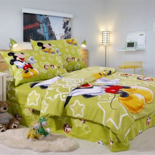 Green 100 Percent Cotton Happy Mickey Mouse Kids Bedding Set