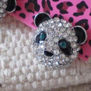 New Betsey Johnson Lovely Silver Tone Crystal Panda Stud Earrings