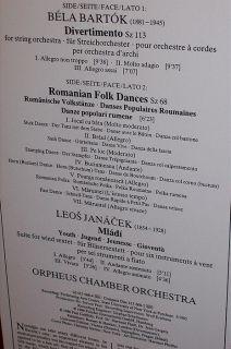 Orpheus Chamber Orchestra Bartok Janacek 1986 DDG German Press Stereo