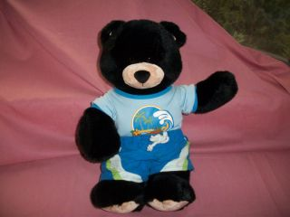 BUILD A BEAR WORKSHOP STUFFED BLACK BEAR DRESSED IN BLUE SURF SHIRT