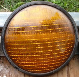 Yellow Traffic Signal Stop Light Lens for 8 Heads Glass Very Good