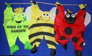 Lot of 3 Lady Bug Bumble Bee Frog Hanging Spring Decoration Flag on
