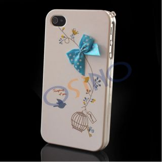 New Stylish Blue Bow 2 Piece iPhone 4 4S Hard Case Cover