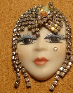 Lady Face Porcelain Swarovski Crystal Hand Painted Beaty Pin