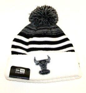 Bulls Black White Snowfall Stripe Beenie Beanie Stocking Cap