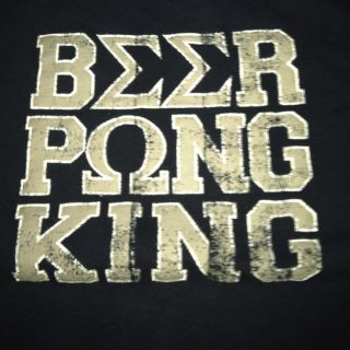 Beer Pong King Mens T Shirt Old Navy Color Navy Blue Size Large