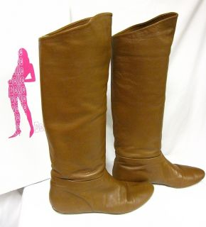 BELLE BY SIGERSON MORRISON NUT BROWN LEATHER FLAT KNEE HIGH BOOTS SZ