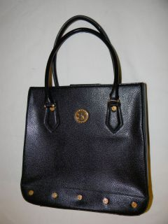 Belle Rose Black Leather Tote Bag Satchel Studded Base