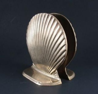 PR Vintage Solid Brass Bookends Seashell Nautical by Price Products