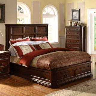 Solid Wood Louisa Antique Cherry Oak Finish Bed Frame