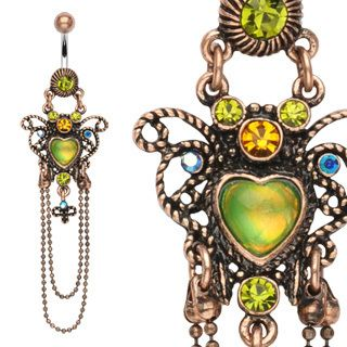 HEART BELLY RING NAVEL CHAIN DANGLE GREEN GEMS BUTTON PIERCING JEWELRY