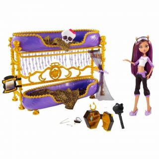 High Dead Tired Clawdeen Wolf Doll Bed Playset Bunk Bed Room howl NEW