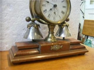 Antique Decorative Boudoir Bedroom Alarm Clock Wood Metal