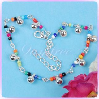 Silver Chain Bell Colorful Beads Ankle Bracelet Anklet