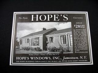 Hopes Windows Bemus Point NY Home House 1953 Print Ad