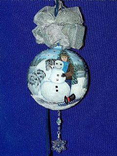 Blue Merle Sheltie Snow Friends 360 HAND PAINTED Christmas