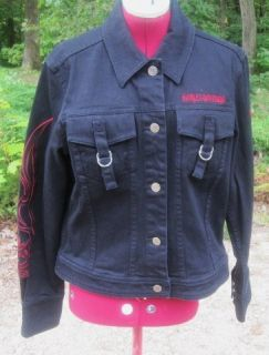 Never Been Worn Harley Davidson Women Black Flare Jean Jacket w