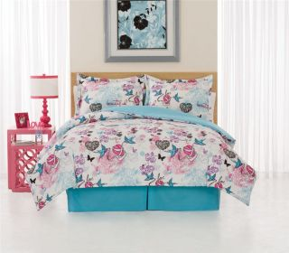 Turquoise Pink Tattoo Full XL Comforter Bedding Bed Set