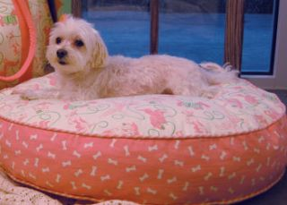 Pampered Pooch 36 inch Round Dog Bed Cover Bones on Pink Canvas
