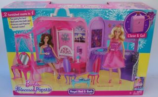Brand New Barbie The Princess & Popstar Royal Bed Bath Playset Bedrom