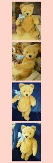 Vintage German Steiff Teddy Bear Button Yellow Tag Blond Mohair