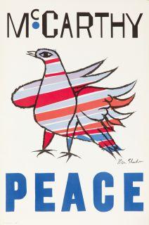 Vintage Poster Eugene McCarthy Ben Shahn Political Campaigne Vote 1968