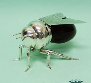 Novelty English Silver Plated And Glass Bee Honey Dish / Jar